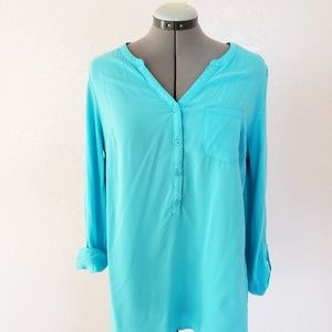 Bright blue long sleeve shirt
